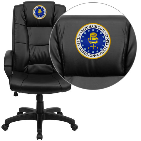Flash Furniture GO-5301B-BK-LEA-EMB-GG Embroidered High Back Black Leather Executive Office Chair - Peazz.com