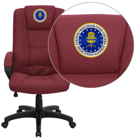 Flash Furniture GO-5301B-BY-EMB-GG Embroidered High Back Burgundy Fabric Executive Office Chair - Peazz.com