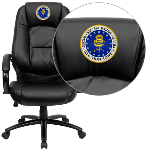 Flash Furniture GO-710-BK-EMB-GG Embroidered High Back Black Leather Executive Office Chair - Peazz.com