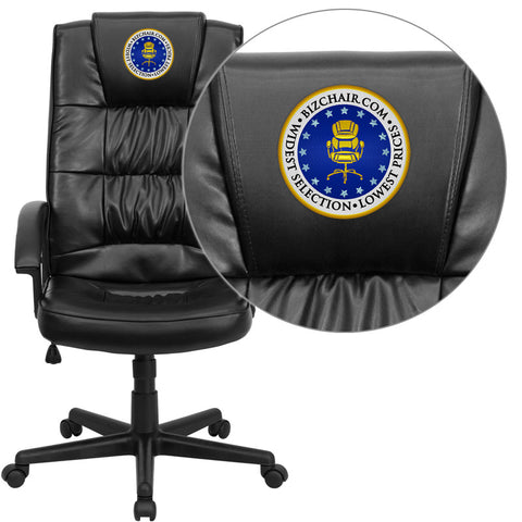Flash Furniture GO-7102-EMB-GG Embroidered High Back Black Leather Executive Office Chair - Peazz.com