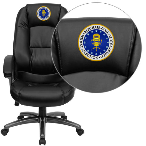 Flash Furniture GO-7145-BK-EMB-GG Embroidered High Back Black Leather Executive Office Chair - Peazz.com