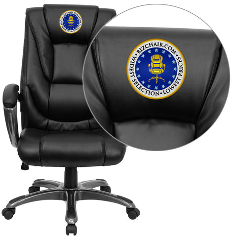 Flash Furniture GO-7194B-BK-EMB-GG Embroidered High Back Black Leather Executive Office Chair - Peazz.com