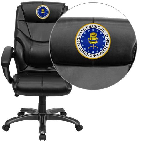 Flash Furniture GO-724H-BK-LEA-EMB-GG Embroidered High Back Black Leather Overstuffed Executive Office Chair - Peazz.com