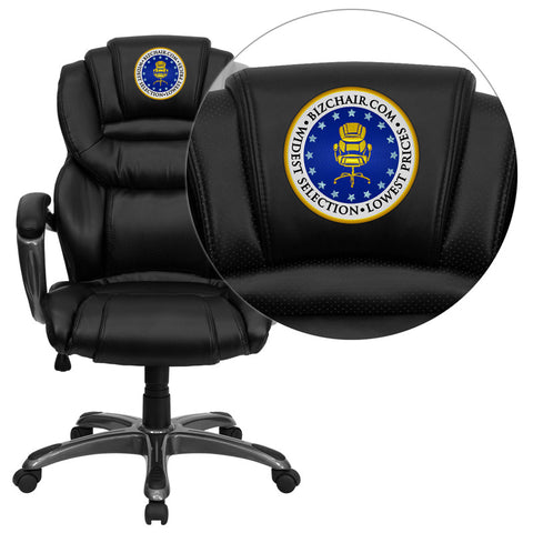 Flash Furniture GO-901-BK-EMB-GG Embroidered High Back Black Leather Executive Office Chair with Leather Padded Loop Arms - Peazz.com