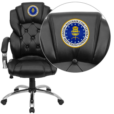 Flash Furniture GO-908A-BK-EMB-GG Embroidered High Back Transitional Style Black Leather Executive Office Chair - Peazz.com