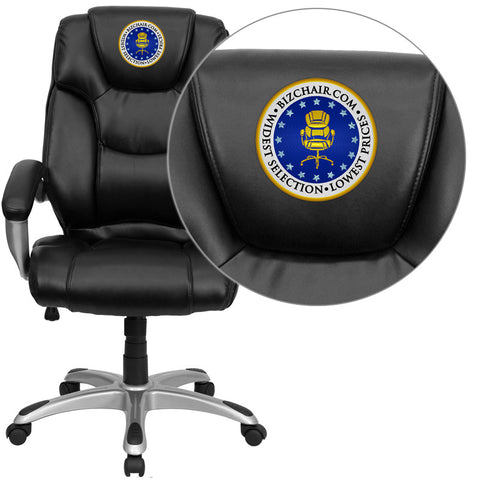 Flash Furniture GO-931H-BK-EMB-GG Embroidered High Back Black Leather Executive Office Chair - Peazz.com