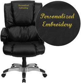 Flash Furniture GO-958-BK-EMB-GG Embroidered High Back Black Leather OverStuffed Executive Office Chair - Peazz.com