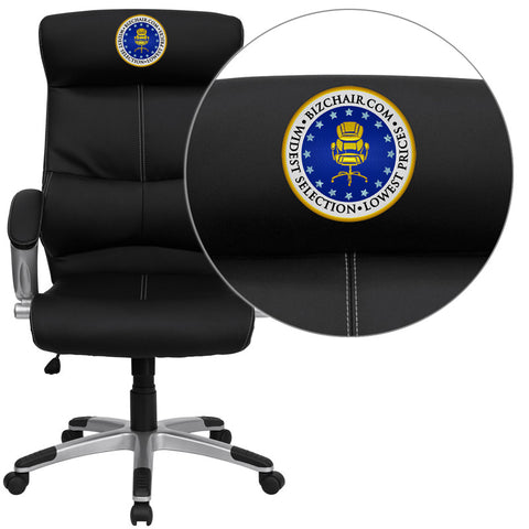 Flash Furniture H-9637L-1C-HIGH-EMB-GG Embroidered High Back Black Leather Executive Office Chair - Peazz.com