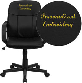 Flash Furniture H8020-EMB-GG Embroidered Mid-Back Black Glove Vinyl Executive Office Chair - Peazz.com