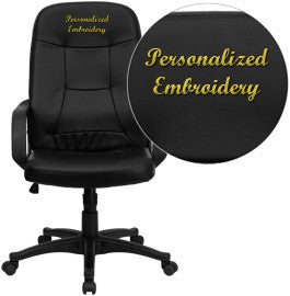 Flash Furniture H8021-EMB-GG Embroidered High Back Black Glove Vinyl Executive Office Chair - Peazz.com