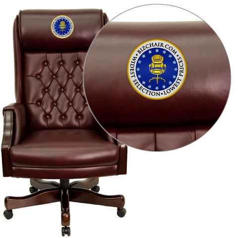 Flash Furniture KC-C696TG-EMB-GG Embroidered High Back Traditional Tufted Burgundy Leather Executive Office Chair - Peazz.com