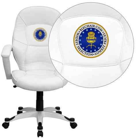 Flash Furniture QD-5058M-WHITE-EMB-GG Embroidered Mid-Back White Leather Executive Office Chair - Peazz.com