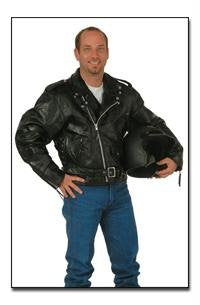 B&F System GFMOT2X Diamond Plate Rock Design Genuine Buffalo Leather Motorcycle Jacket - Peazz.com