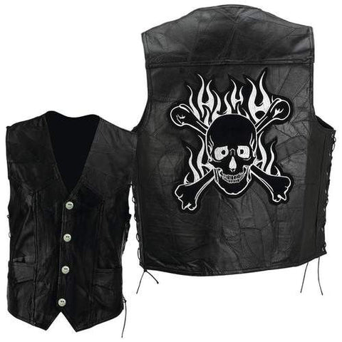 B&F System GFVSCB3X Diamond Plate Rock Design Genuine Buffalo Leather Motorcycle Vest - Peazz.com