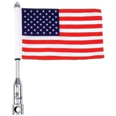 B&F System BKFLAGPL Diamond Plate Motorcycle Flagpole Mount and USA Flag - Peazz.com