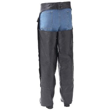 B&F System GFCHAPL Diamond Plate Rock Design Genuine Buffalo Leather Motorcycle Chaps - Peazz.com