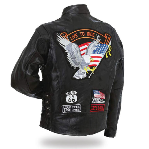 B&F System GFCRLTR4X Diamond Plate Rock Design Genuine Buffalo Leather Motorcycle Jacket - Peazz.com