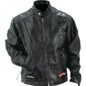 B&F System GFCRLTRL Diamond Plate Rock Design Genuine Buffalo Leather Motorcycle Jacket - Peazz.com
