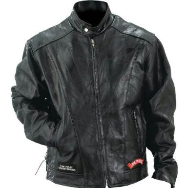 B&F System GFCRLTRS Diamond Plate Rock Design Genuine Buffalo Leather Motorcycle Jacket - Peazz.com