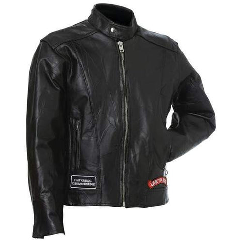B&F System GFCRLTRXL Diamond Plate Rock Design Genuine Buffalo Leather Motorcycle Jacket - Peazz.com