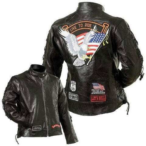 B&F System GFLADLTR3X Diamond Plate Ladies Rock Design Genuine Buffalo Leather Motorcycle Jacket - Peazz.com