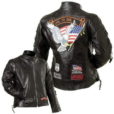 B&F System GFLADLTRS Diamond Plate Ladies Rock Design Genuine Buffalo Leather Motorcycle Jacket - Peazz.com