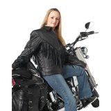 B&F System GFLADMJL Diamond Plate Ladies Solid Genuine Leather Motorcycle Jacket - Peazz.com