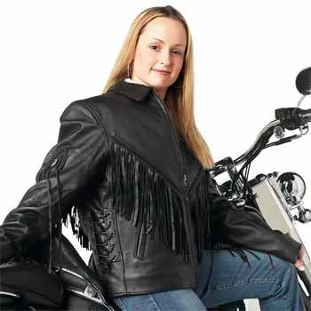 B&F System GFLADMJM Diamond Plate Ladies Solid Genuine Leather Motorcycle Jacket - Peazz.com