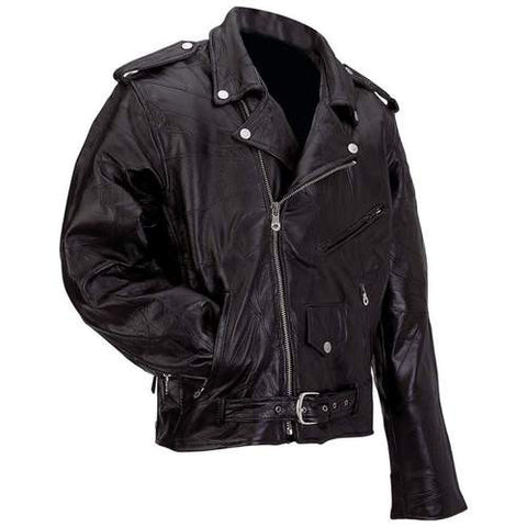 B&F System GFMOT3X Diamond Plate Rock Design Genuine Buffalo Leather Motorcycle Jacket - Peazz.com