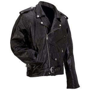 B&F System GFMOT4X Diamond Plate Rock Design Genuine Buffalo Leather Motorcycle Jacket - Peazz.com