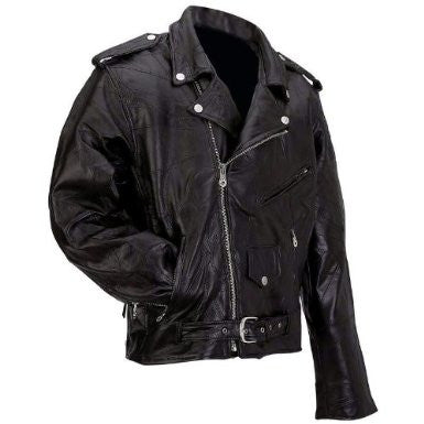 B&F System GFMOT6X Diamond Plate Rock Design Genuine Buffalo Leather Motorcycle Jacket - Peazz.com