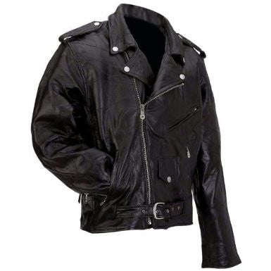 B&F System GFMOTS Diamond Plate Rock Design Genuine Buffalo Leather Motorcycle Jacket - Peazz.com