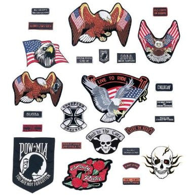 B&F System GFPATCH26 Live To Ride 26pc Embroidered Motorcycle Patch Set - Peazz.com