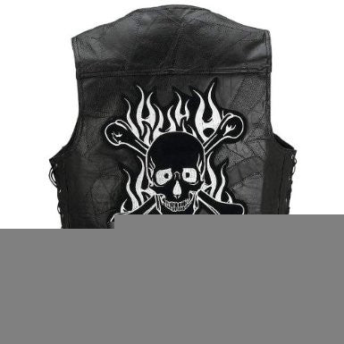 B&F System GFVSCBM Diamond Plate Rock Design Genuine Buffalo Leather Motorcycle Vest - Peazz.com