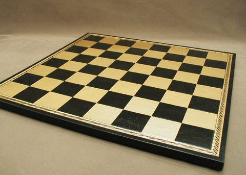 "15 1/2"" Pressed Leather Chess Board, Black and Gold, 1 3/4"" Square - Peazz.com"