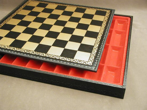 "17 1/2"" Pressed Leather Chess Board and Chest, Black and Gold, 1 3/4 Square - Peazz.com"