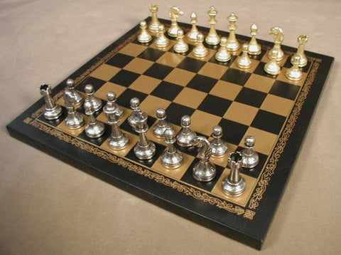 "Staunton Metal Chess Pieces with 2"" King on 10 1/2"" Pressed Leather Chess Board - Peazz.com"