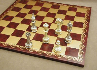 "Staunton Metal Chess Pieces with 4"" King on Pressed Leather 18"" Chess Board - Peazz.com"