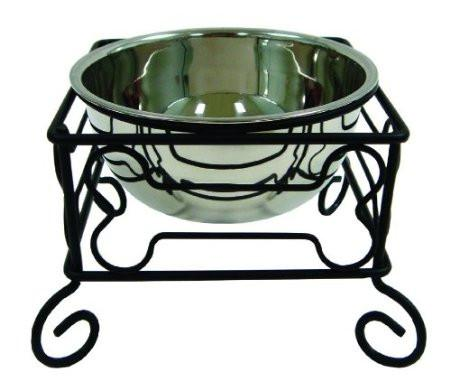 "YML Group DSB5 5"" Wrought Iron Stand with Single Stainless Steel Feeder Bowl"