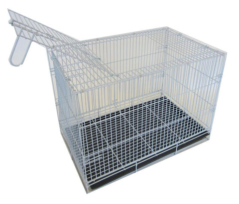 "YML Group SA20G 20"" Small Animal,Dog Kennel Cage With Bottom Grate, White Body with Black Tray"