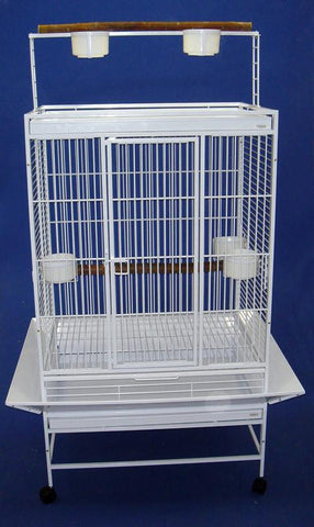 "YML Group WI32WHT WI32 3/4"" Bar Spacing Play Top Wrought Iron Parrot Cage - 32""x23"" In White"
