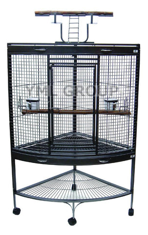 "YML Group WI37CAS 3/4"" Bar Spacing Corner Wrought Iron Parrot Cage - 37""x26.5x62"" In Antique Silver"