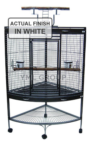 "YML Group WI37CWHT 3/4"" Bar Spacing Corner Wrought Iron Parrot Cage - 37""x26.5x62"" In White"
