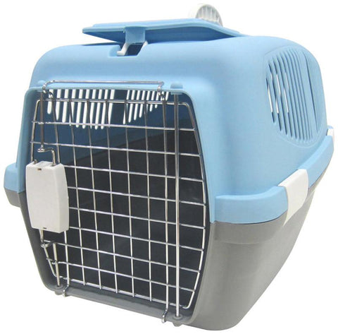 YML Group Z100L-BL Large Plastic Carrier for Small Animal, Blue - Peazz Pet