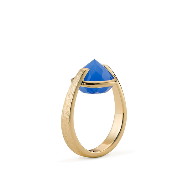 Enthusiasm - 9 Ct Blue Chalcedony Brushed Gold Ring
