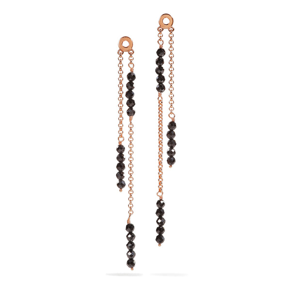 Calla - Black Spinel Rose Gold Earrings