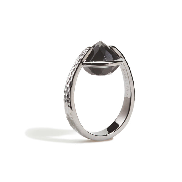 Vigor - 9 Ct Black Onyx Hammered Gunmetal Ring