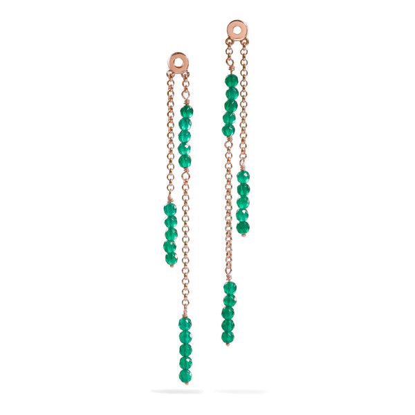 Dahlia - Green Onyx Rose Gold Earrings