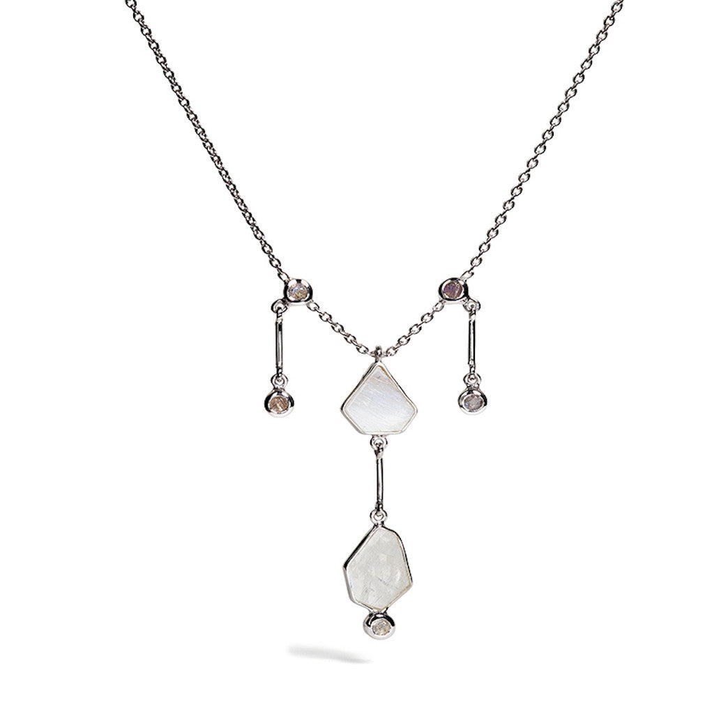 Clea - Rainbow Moonstone Till Necklace