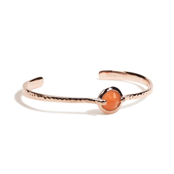 Calm - 6 Ct Peach Moonstone Hammered Rose Gold Cuff